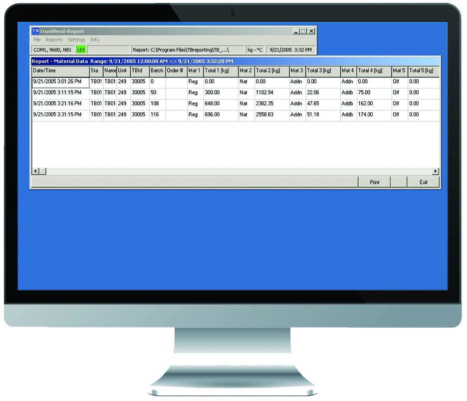 TRUEBLEND<sup>™</sup> Reporting Software