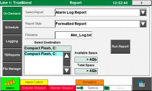 SB-4 reporting capabilities screen